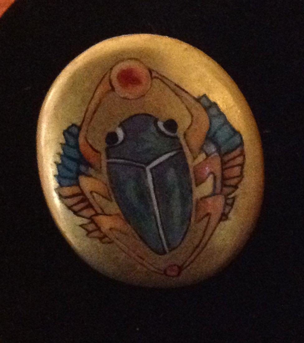 Vintage Egyptian Revival Porcelain Ring