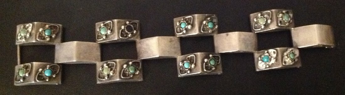Mexican Sterling and Turquoise Bracelet; 63.9g