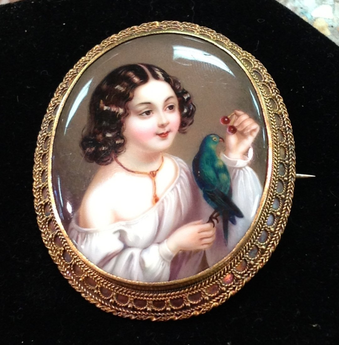 Antique Handpainted Portrait Brooch of a Girl
