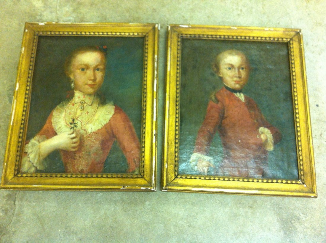 Pair of Portraits of French Children