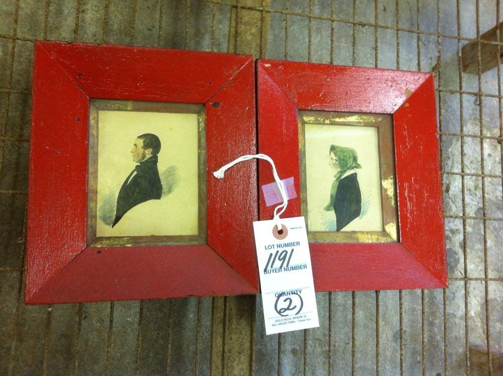 Pair of Oil Portraits in Red Frames
