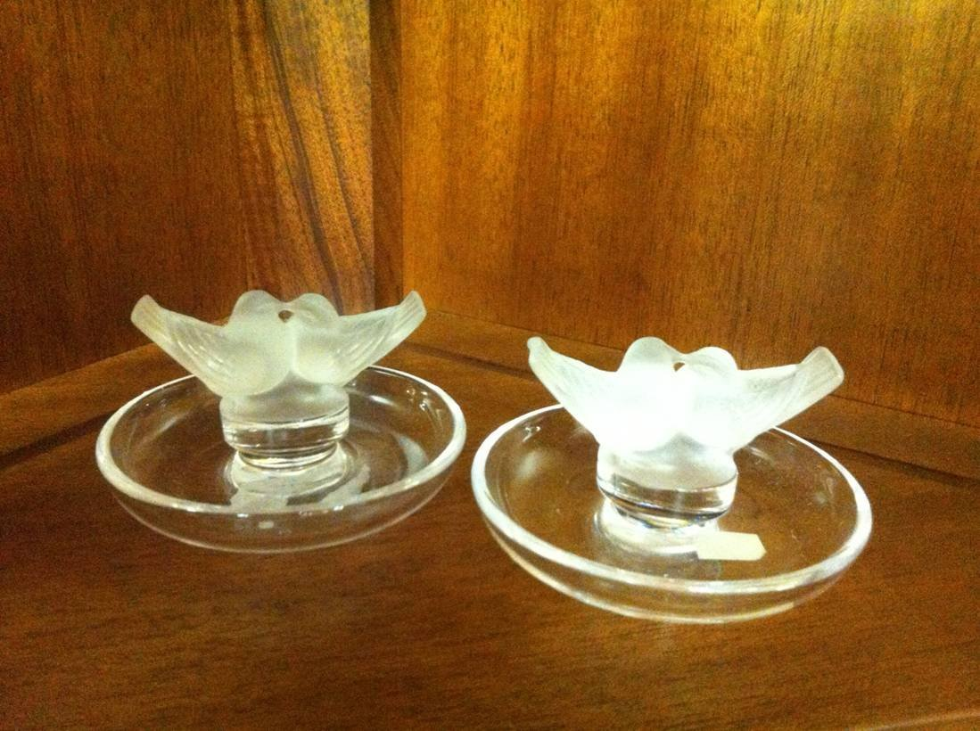 Pair of Lalique Lovebird Ring Holders