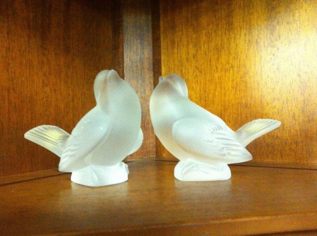 Pair of Lalique Sparrow Figurines