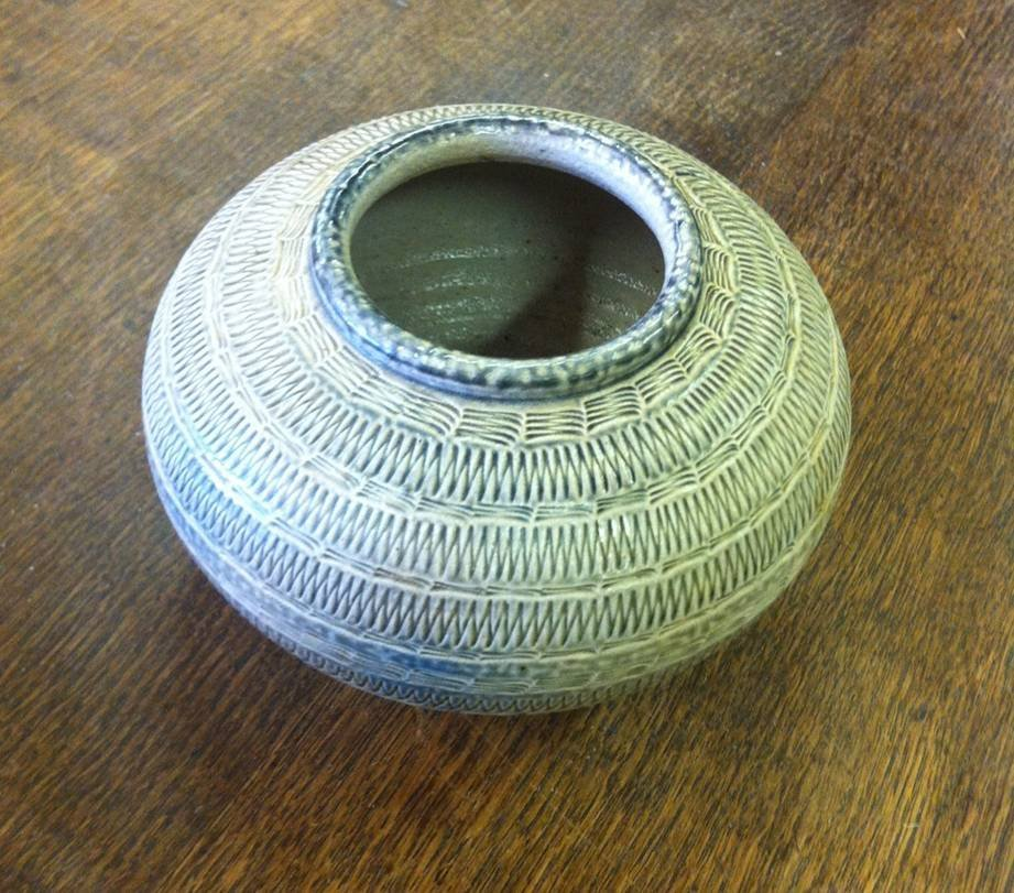 Textured Design Pottery Bowl Signed