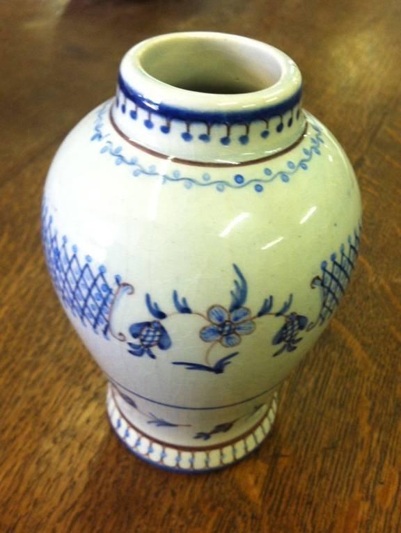 Hand Painted Blue & White Bud Vase