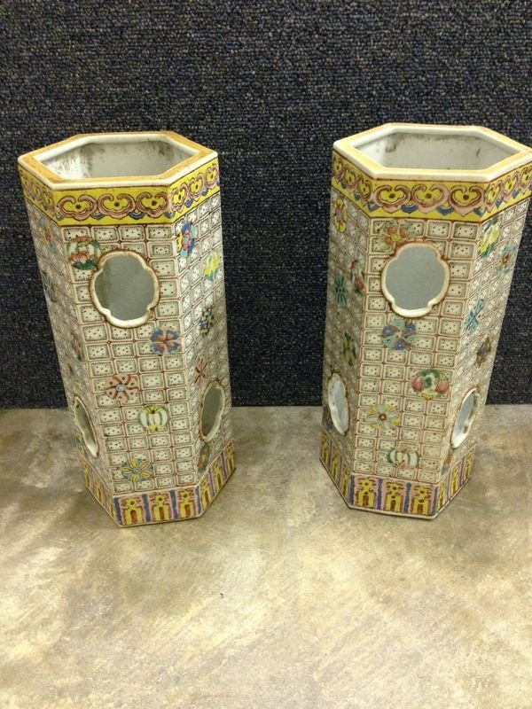 2 Chinese Peirced Porcelain Hat Stands