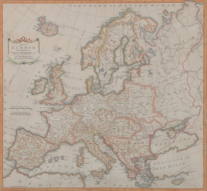 5: THOMAS KITCHIN 1719-1784 MAP OF EUROPE DIVIDED INTO