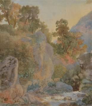 ARTHUR GLENNIE R.W.S 1803-1890 POMPEII c.1840 water