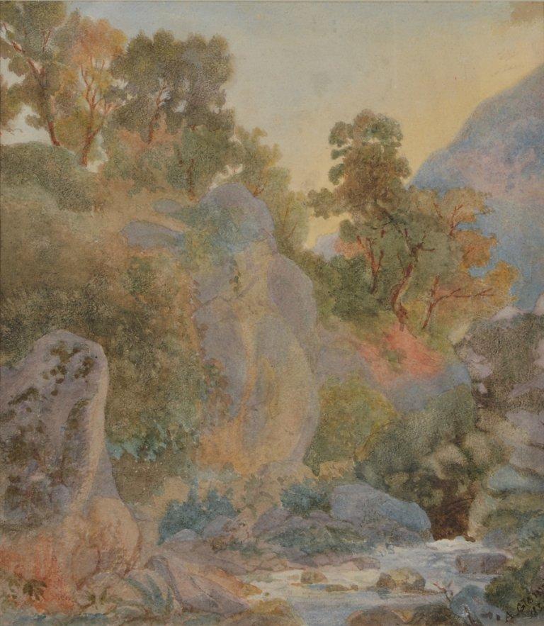 16: ARTHUR GLENNIE R.W.S 1803-1890 POMPEII c.1840 water