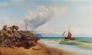 JOHN MOGFORD 1821-1885 FISHERMAN'S FAMILY ON THE BE