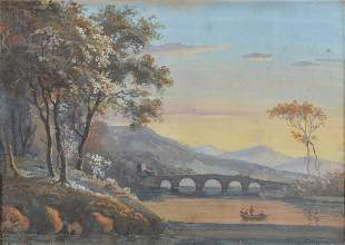 FRENCH SCHOOL, 19TH CENTURY CROSSING THE RIVER AT S