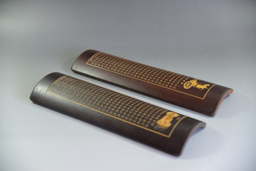 PAIR OF CHINESE BAMBOO BRUSH RESTS WITH CALLIGRAPHY