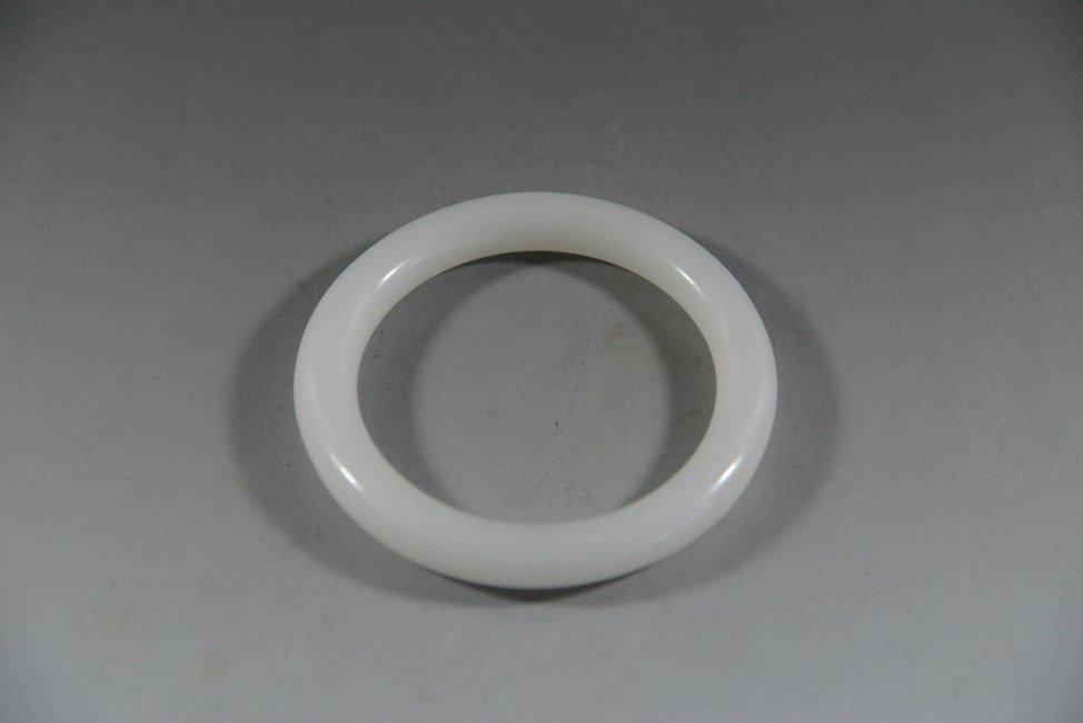 CHINESE CARVED WHITE JADE BRACELET