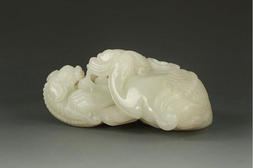 An Chinese Qing dynasty carving white jade,