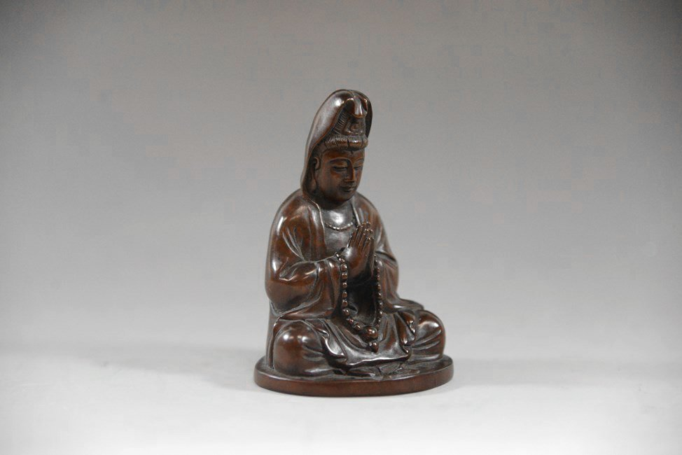 AN BOXWOOD CARVING GUANYIN