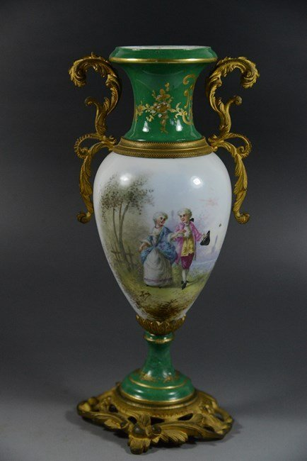AN ANTIQUE STYLE FRENCH PORCELAIN VASE WITH HANDLES