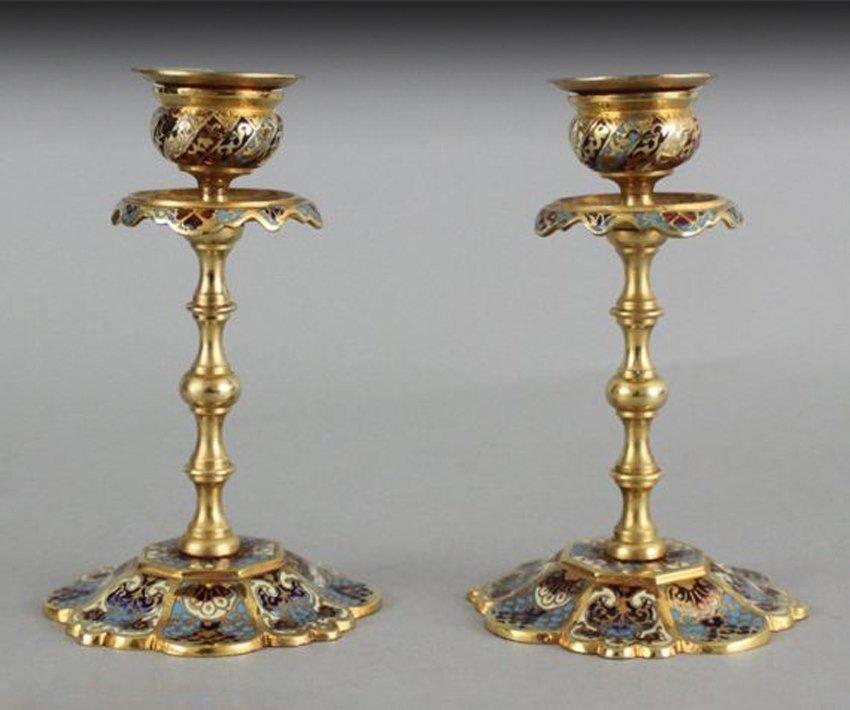 A Pair of Cloisonne Gold Color Candlesticks,