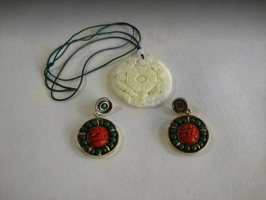 A SET OF JADE AND WITH CORAL EARRINGS.