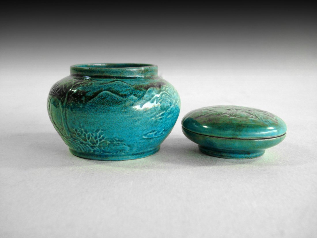 A SET OF CHINESE CYANS JAR AND CONTAINER,