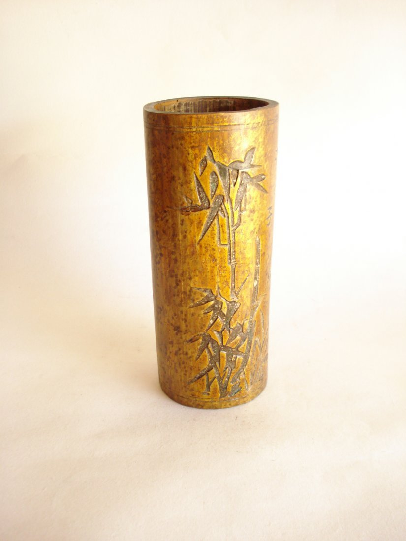 AN CHINESE CARVED BAMBOO RECTANGULAR BRUSH POT
