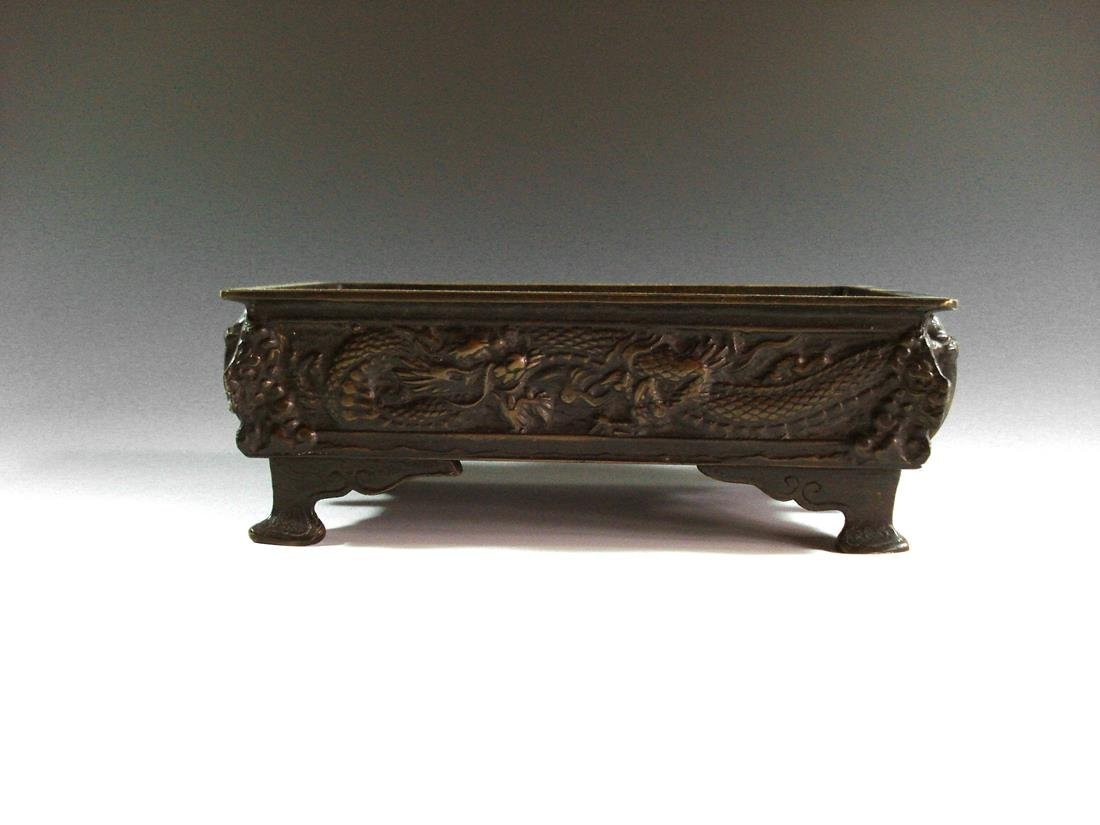 A RECTANGULAR BRONZE CENSER