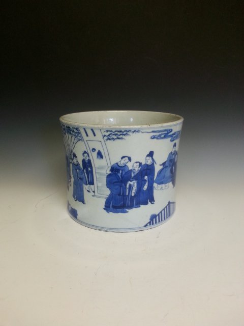 "BLUE AND WHITE PORCELAIN ""OFFICIALS GATHERING"" BRUSH PO"
