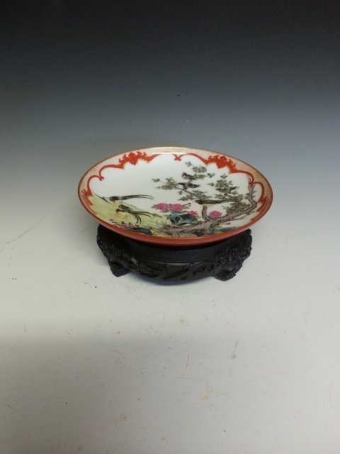 AN BIRD PAINTING PORCELAIN SMALL DISH.