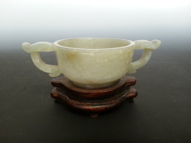 AN HETIAN WHITE JADE TWIN HANDLE BOWL