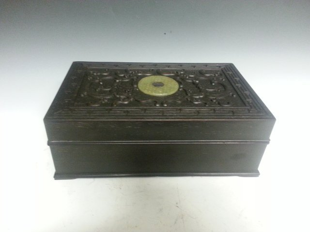 AN ANTIQUE CHINESE CARVED JADE ZITAN WOOD BOX.