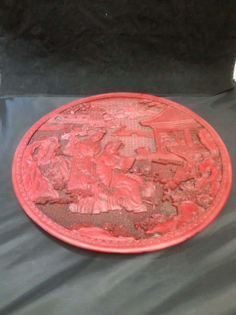 RED LACQUER TWO ASIANS FLAT CONTAINER