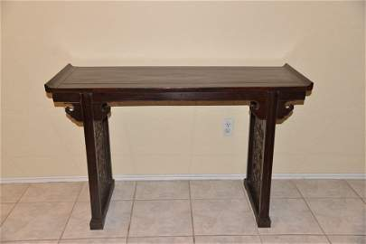 A CHINESE ZITEN CARVED ALTAR TABLE