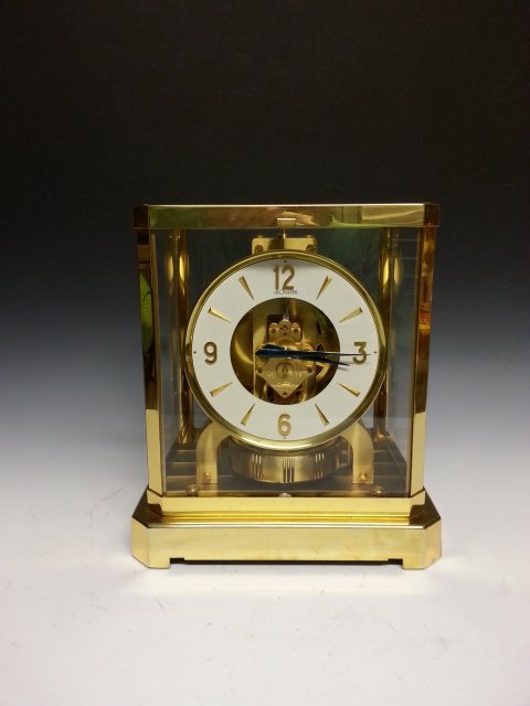 An Jaeger Le Coultre brushed gilt metal Atmos clock,