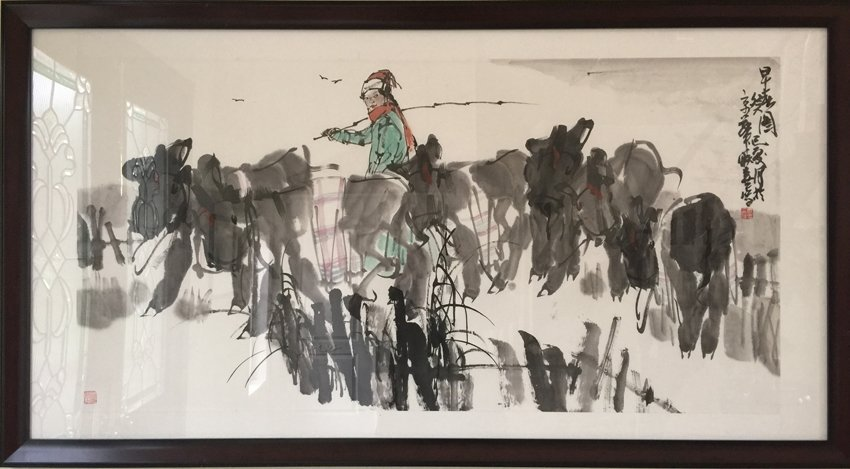 INK AND COLOR ON PAPER 'FARMER' FRAMED PAINTING