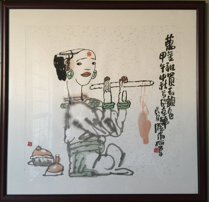 INK AND COLOR ON PAPER 'LADY' FRAMED PAINTING