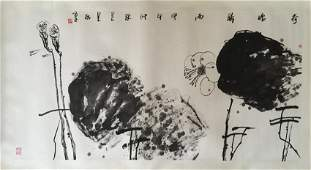 INK ON PAPER 'FLOWER' PAINTING