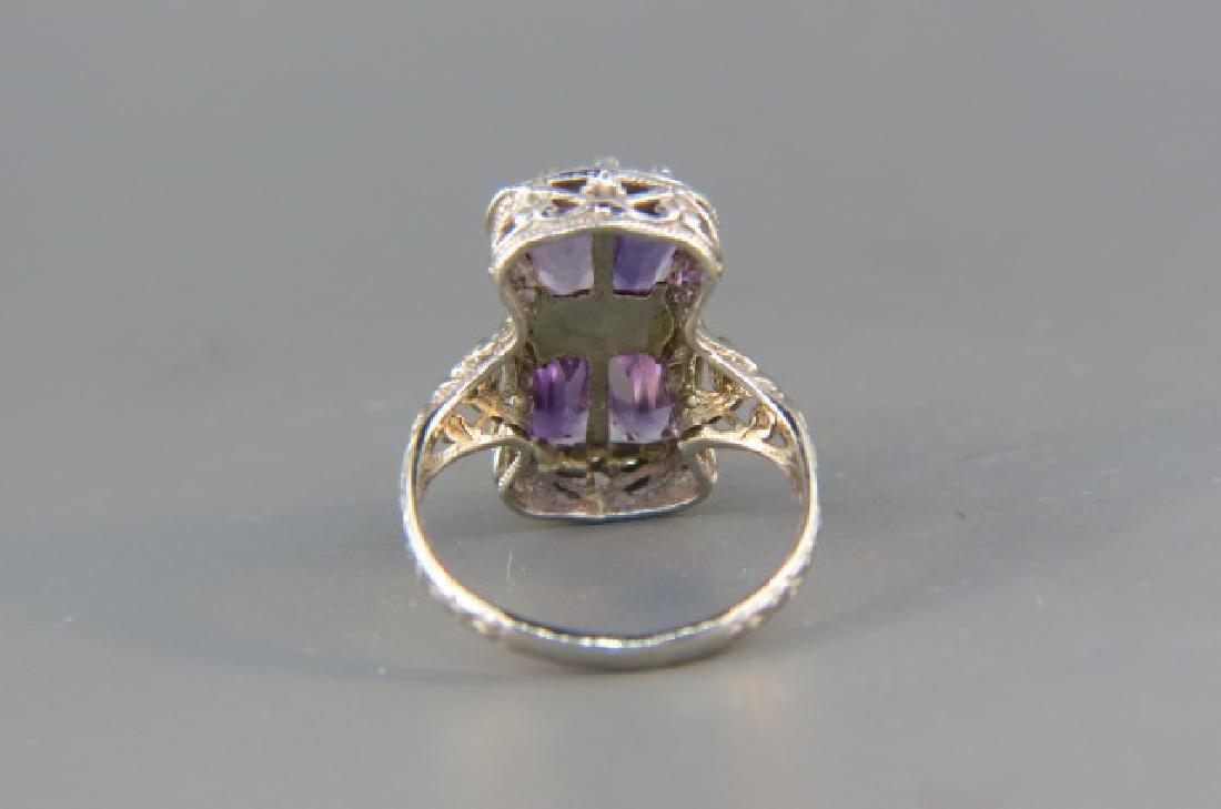 Diamond & Amethyst Ring, - 3