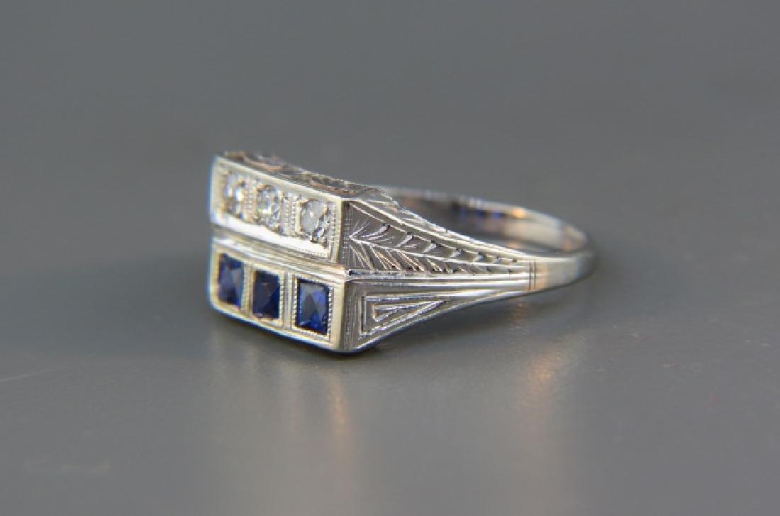 Diamond & Sapphire Ring, - 2