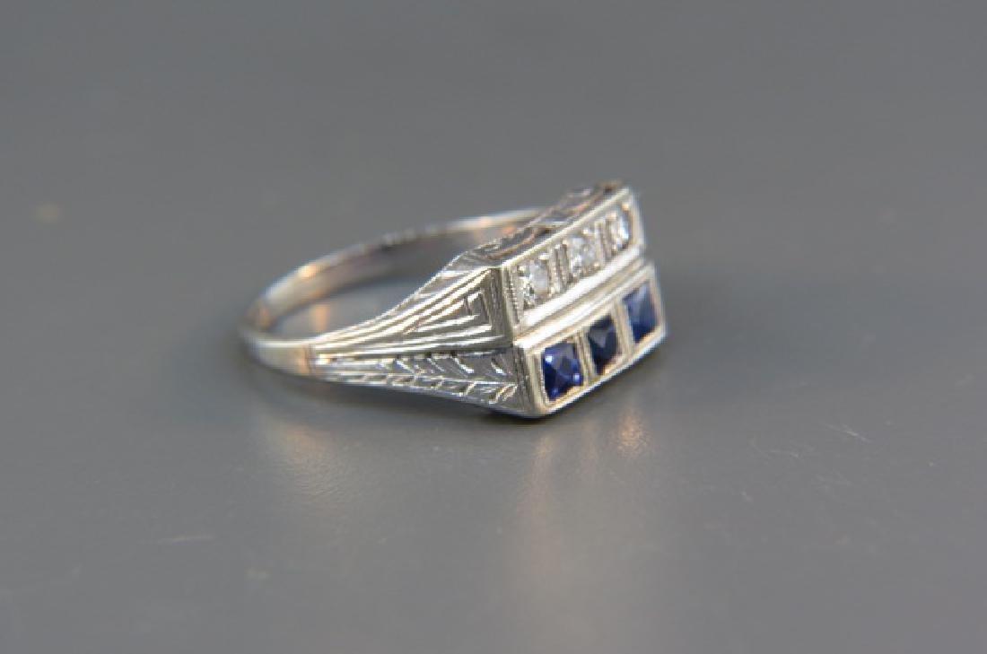 Diamond & Sapphire Ring, - 4