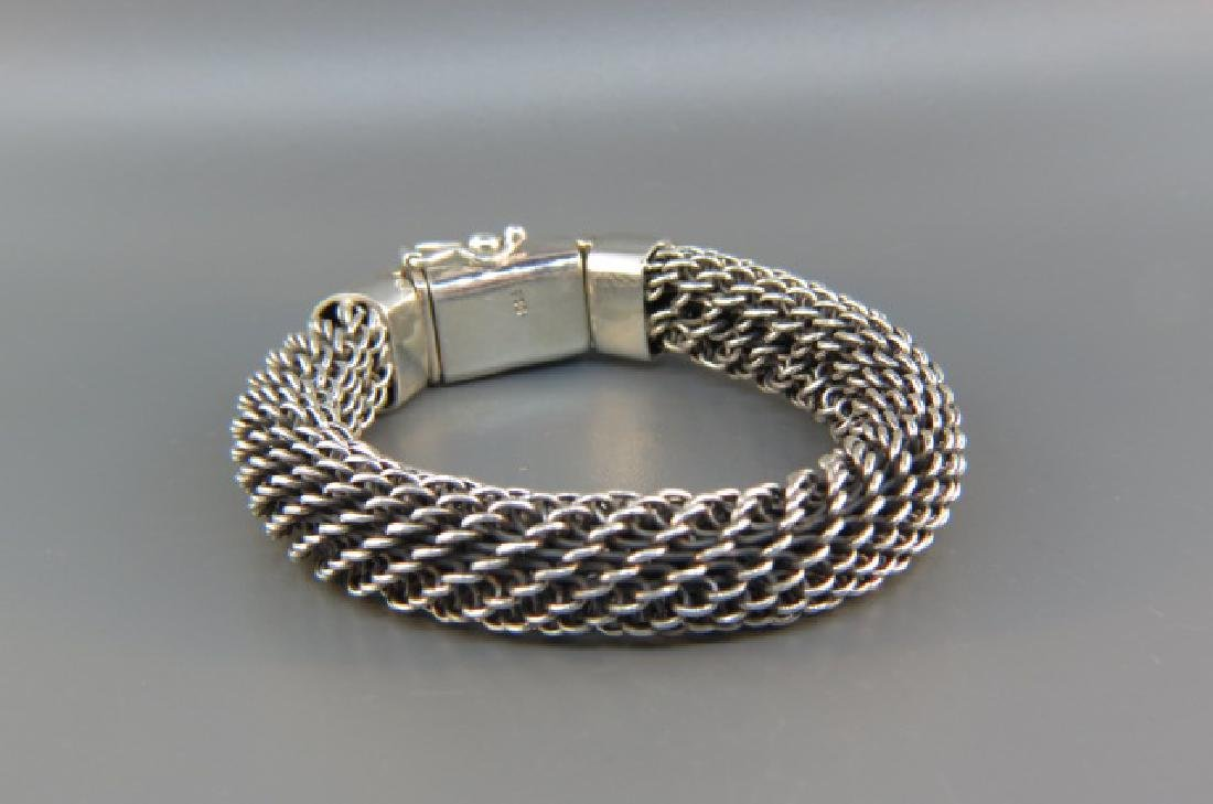 Sterling Silver Woven Cable Style Bracelet,