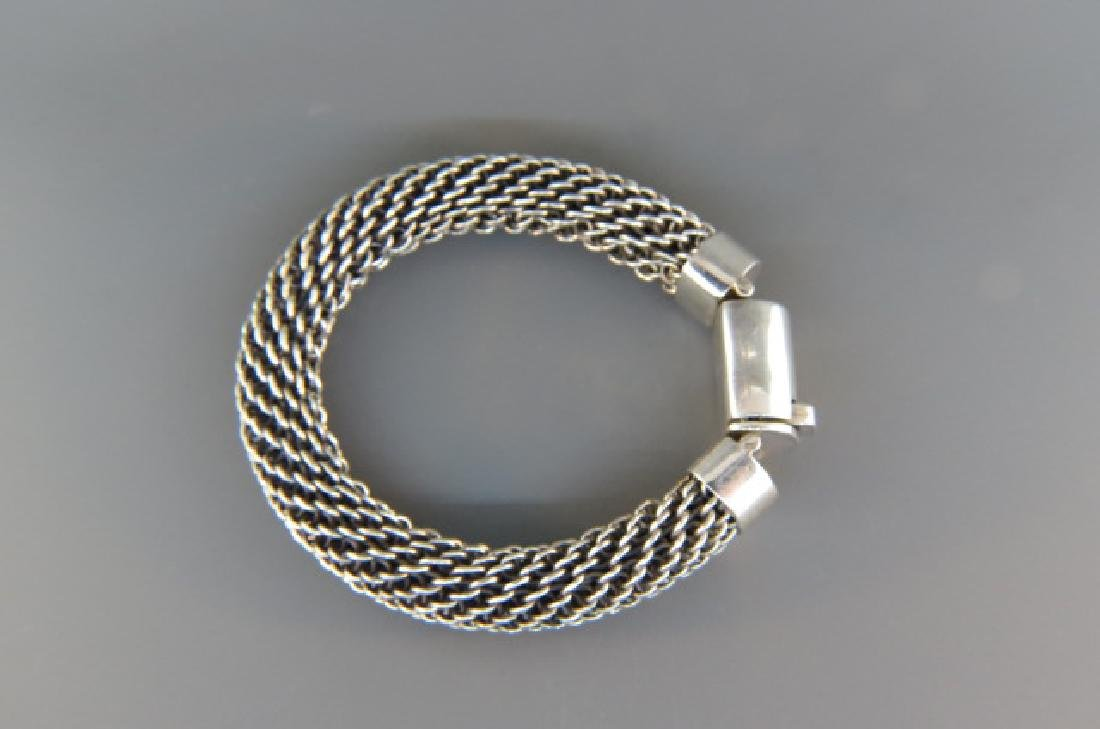 Sterling Silver Woven Cable Style Bracelet, - 3