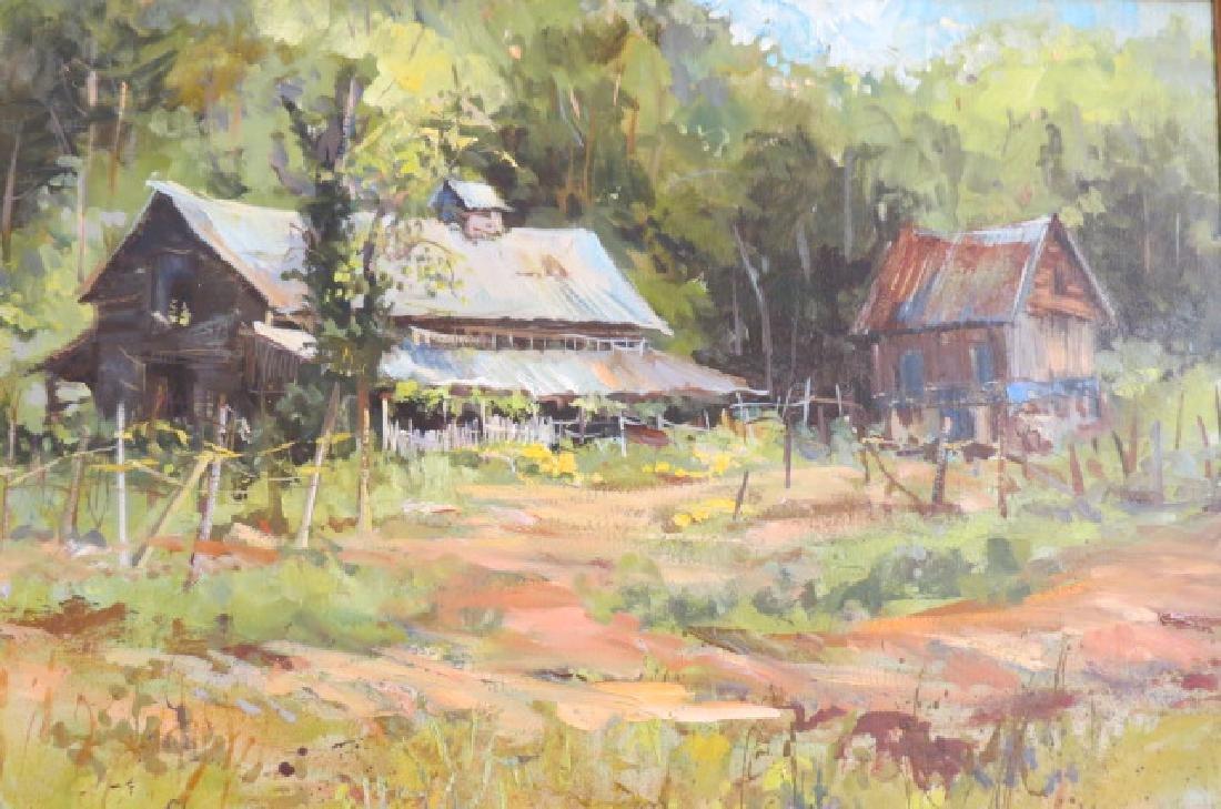 Sarah Sneeden, oil, Old Barns in North Carolina,
