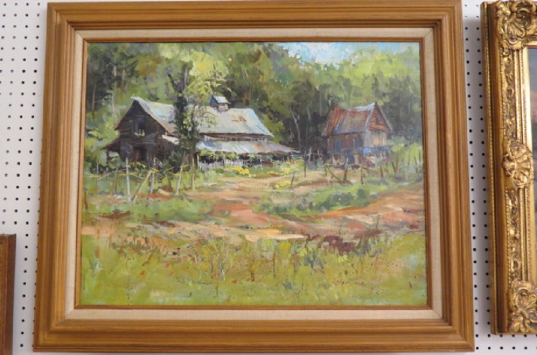 Sarah Sneeden, oil, Old Barns in North Carolina, - 2