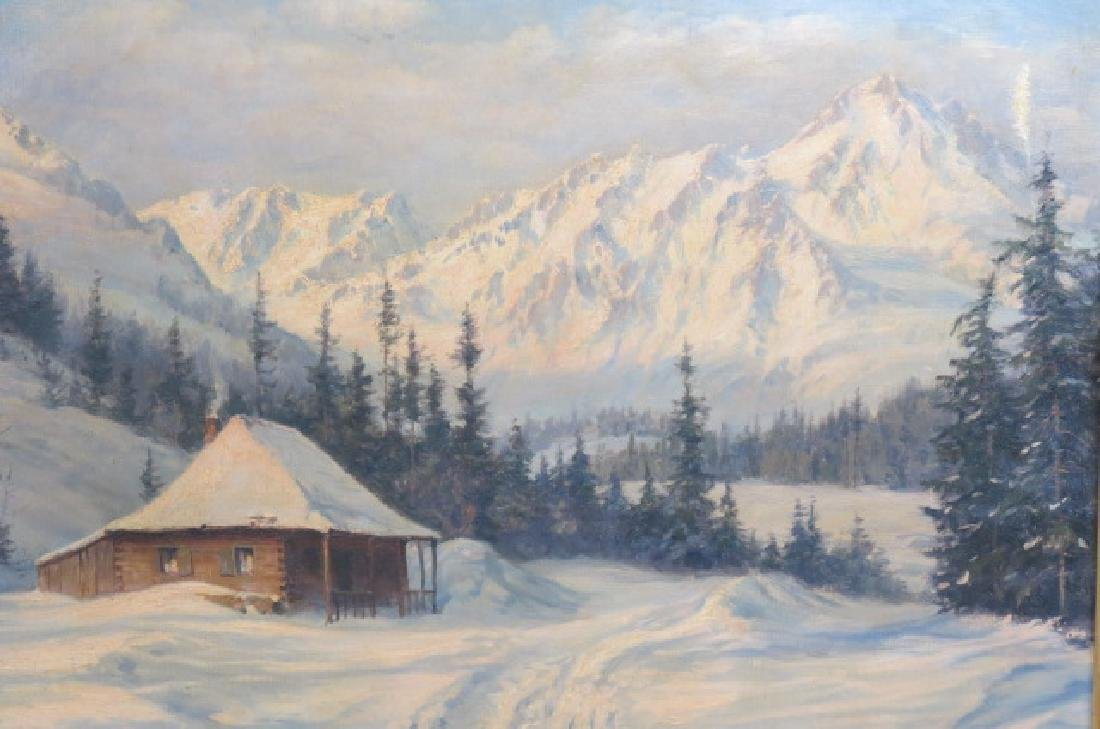 Ludwig Burgel, oil, Winter Landscape with Cabin, - 2
