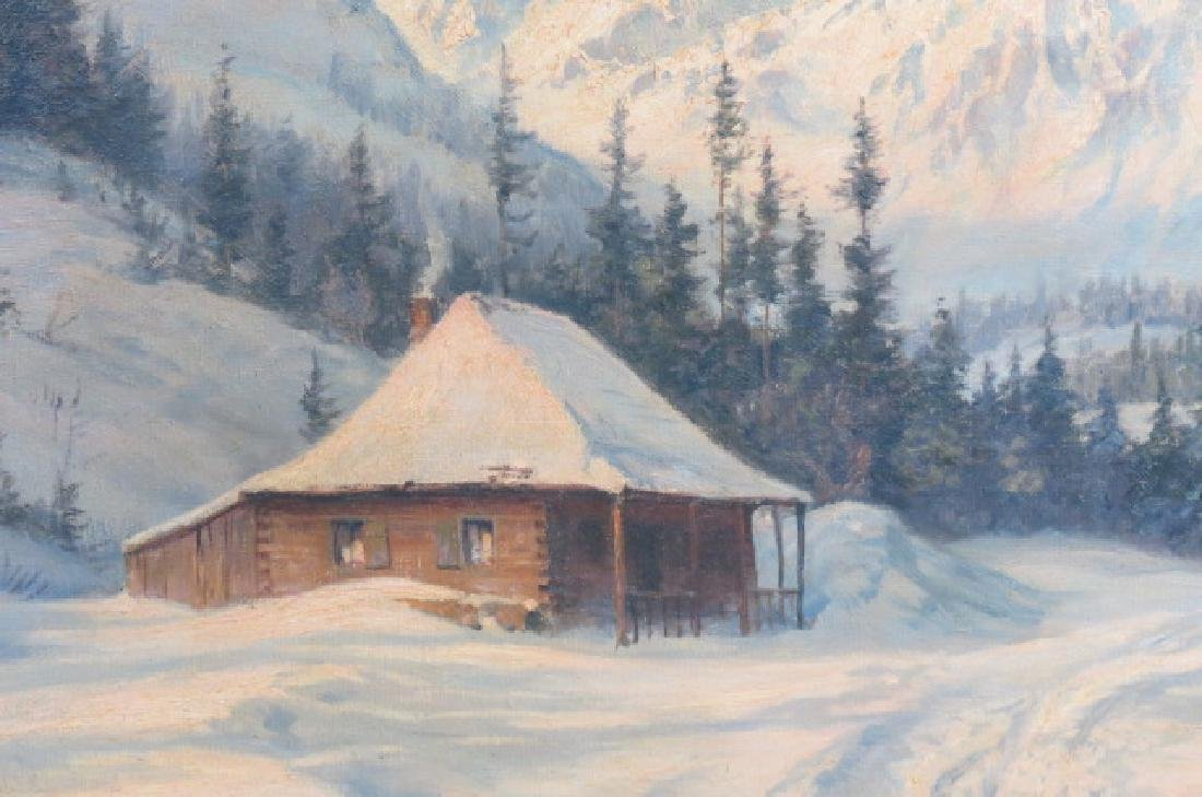 Ludwig Burgel, oil, Winter Landscape with Cabin, - 4