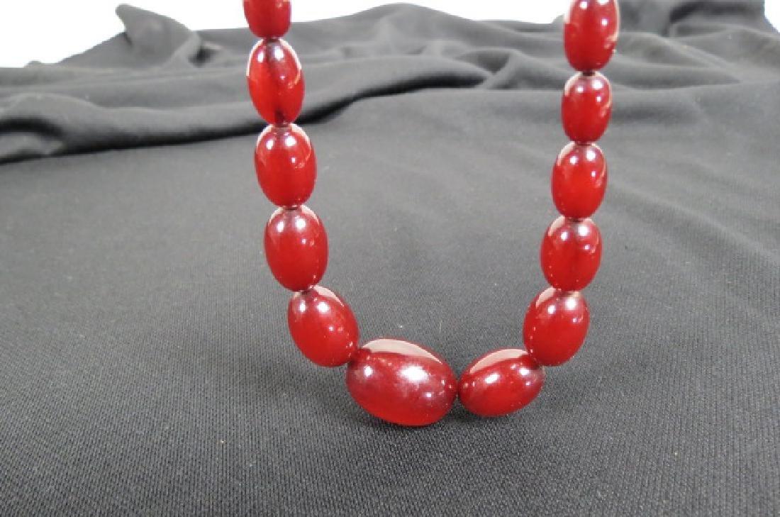 Victorian Amber Bead Necklace, dark cherry color, - 2