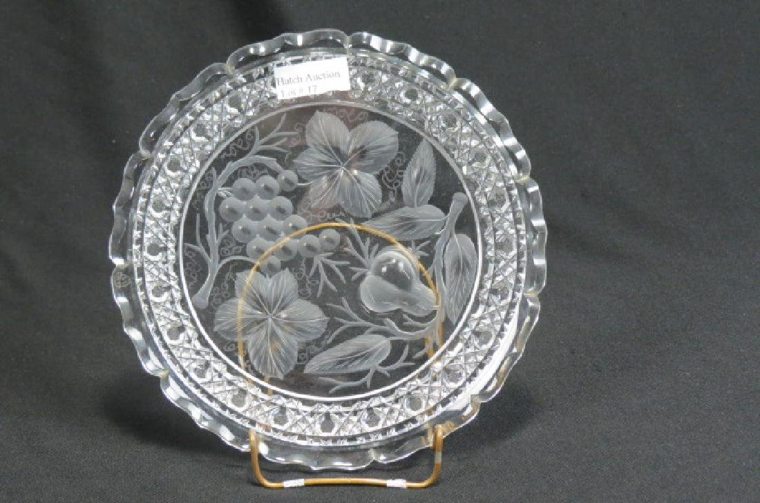 """Tuthill Cut Glass 9"""" Plate """"Pears & Grapes"""","""