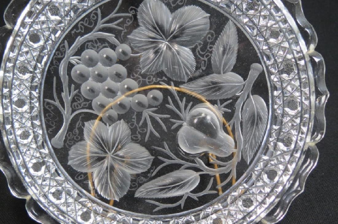 """Tuthill Cut Glass 9"""" Plate """"Pears & Grapes"""", - 2"""