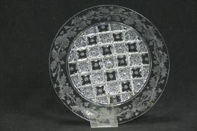 Sinclaire Cut Glass Snowflakes & Holly Plate,