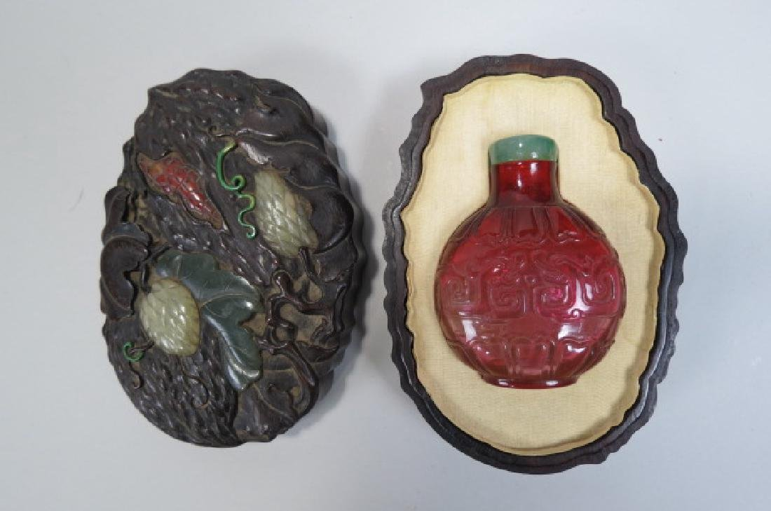 Chinese Carved Glass Snuff Bottle Carved Wood Box,