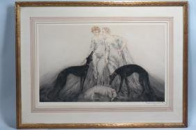 "Louis Icart, etching, ""Coursing III"""